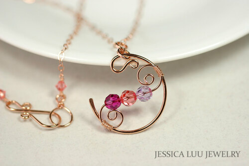 14K rose gold filled wire wrapped peach purple pink Swarovski crystal crescent pendant on chain necklace handmade by Jessica Luu Jewelry