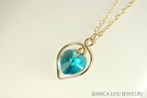 14K yellow gold filled wire wrapped blue zircon teal Swarovski crystal heart pendant on chain necklace handmade by Jessica Luu Jewelry