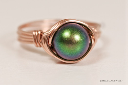 14K rose gold filled wire wrapped scarabaeus green Swarovski pearl solitaire ring handmade by Jessica Luu Jewelry