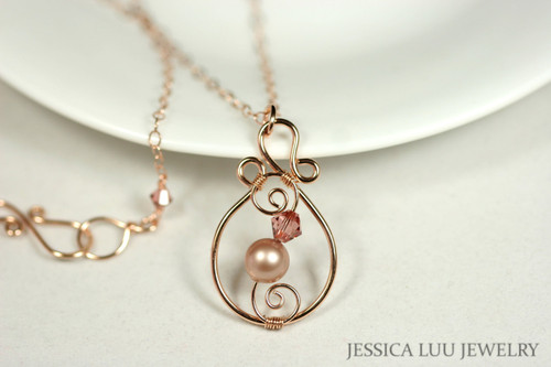 14K rose gold filled wire wrapped blush pink powder almond beige Swarovski crystal and pearl pendant on chain necklace handmade  by Jessica Luu Jewelry