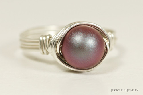 Sterling silver wire wrapped iridescent red Swarovski pearl solitaire ring handmade by Jessica Luu Jewelry