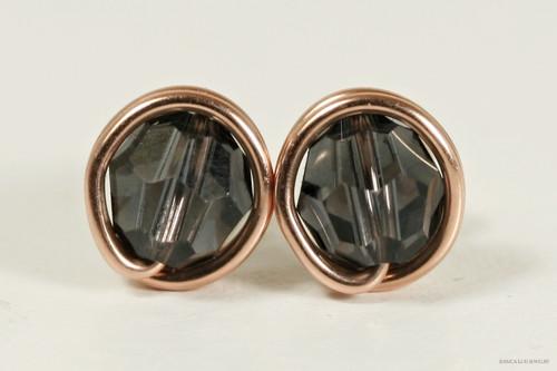 14K rose gold filled wire wrapped dark grey graphite Swarovski crystal stud earrings handmade by Jessica Luu Jewelry