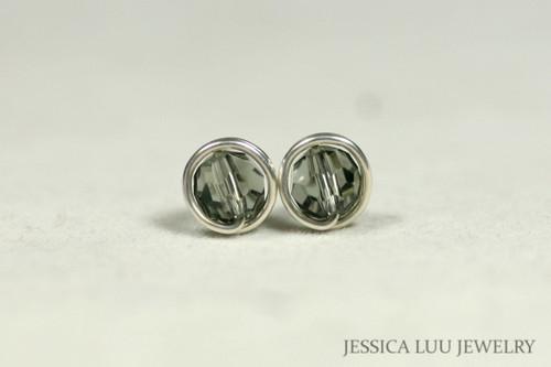 Sterling silver wire wrapped black diamond grey Swarovski crystal round stud earrings handmade by Jessica Luu Jewelry
