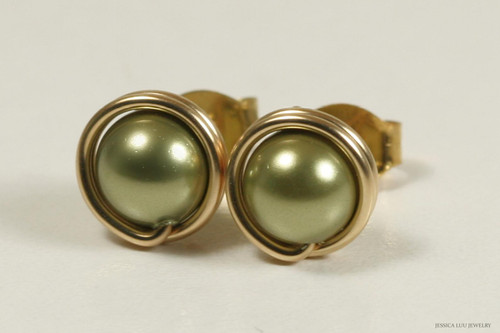 14K yellow gold filled wire wrapped olive light green Swarovski pearl stud earrings handmade by Jessica Luu Jewelry