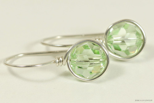 Sterling silver wire wrapped chrysolite light green Swarovski crystal drop earrings handmade by Jessica Luu Jewelry