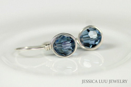 Sterling silver wire wrapped denim blue Swarovski crystal drop earrings handmade by Jessica Luu Jewelry