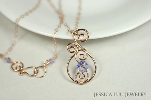 Rose Gold Lavender Swarovski Crystal Pendant Necklace