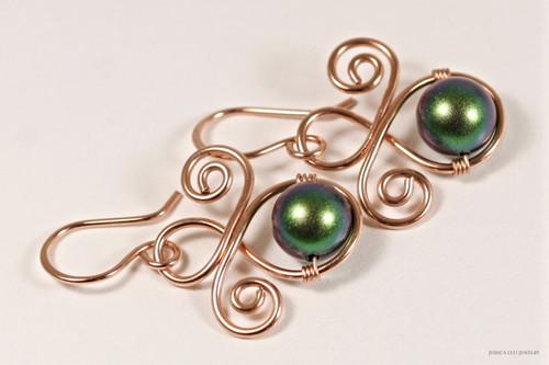 14K rose gold filled wire wrapped dark scarabaeus green Swarovski pearl dangle earrings handmade by Jessica Luu Jewelry