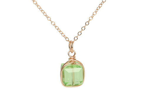 14K rose gold filled wire wrapped peridot light green crystal cube pendant on chain necklace handmade by Jessica Luu Jewelry