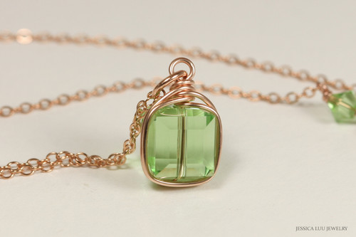 14K rose gold filled wire wrapped peridot light green Swarovski crystal cube pendant on chain necklace handmade by Jessica Luu Jewelry