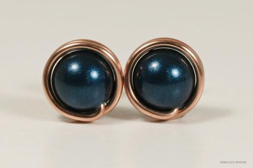 14K rose gold filled wire wrapped dark blue petrol Swarovski pearl stud earrings handmade by Jessica Luu Jewelry