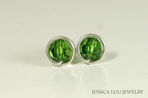 Sterling silver wire wrapped fern green Swarovski crystal round stud earrings handmade by Jessica Luu Jewelry