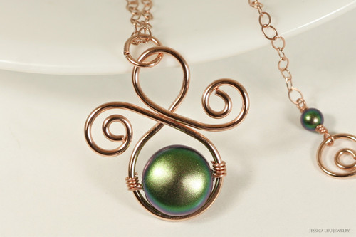 14K rose gold filled wire wrapped scarabaeus green Swarovski flat coin pearl pendant on chain necklace handmade by Jessica Luu Jewelry