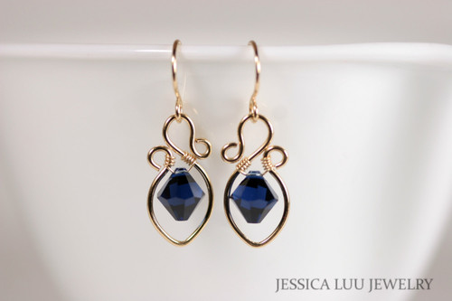 Gold Navy Blue Swarovski Crystal Dangle Earrings