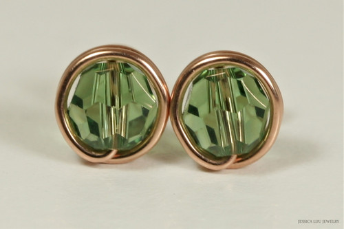 14K rose gold filled wire wrapped erinite green Swarovski crystal round stud earrings handmade by Jessica Luu Jewelry