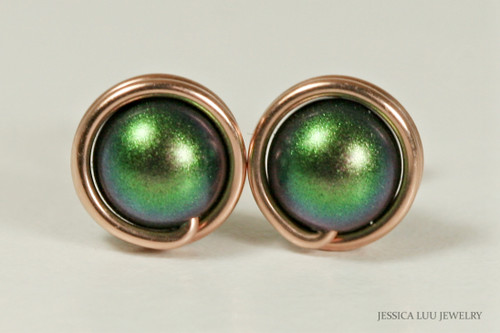 14K rose gold filled wire wrapped scarabaeus green Swarovski pearl stud earrings handmade by Jessica Luu Jewelry