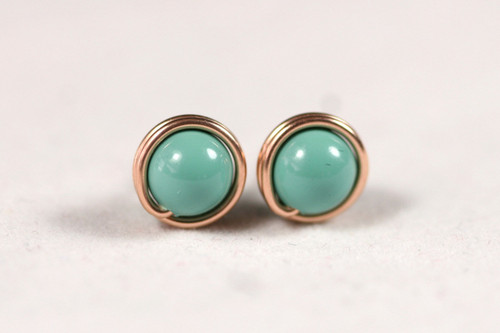 Rose Gold Jade Green Stud Earrings - Available in 2 Sizes and Other Metal Options