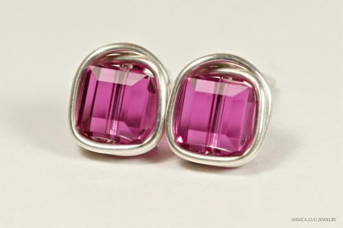 Sterling silver wire wrapped fuchsia pink purple Swarovski crystal cube stud earrings handmade by Jessica Luu Jewelry