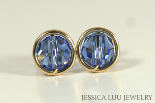 Gold Sapphire Blue Swarovski Crystal Stud Earrings - Available in 2 Sizes and Other Metal Options