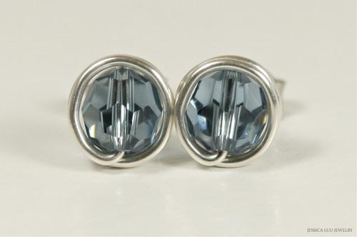 Sterling silver wire wrapped denim blue Swarovski crystal round stud earrings handmade by Jessica Luu Jewelry