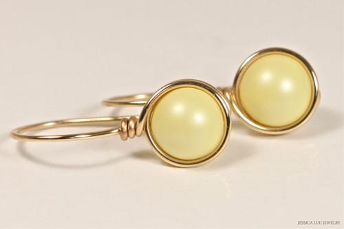 14K yellow gold filled wire wrapped light pastel Swarovski pearl drop earrings handmade by Jessica Luu Jewelry