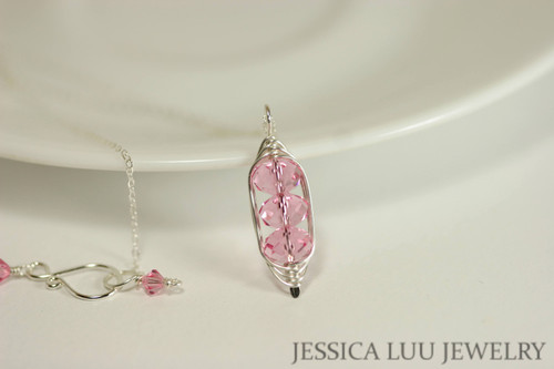 Sterling silver herringbone wire wrapped three stone light rose pink Swarovski crystal pendant on chain necklace handmade by Jessica Luu Jewelry