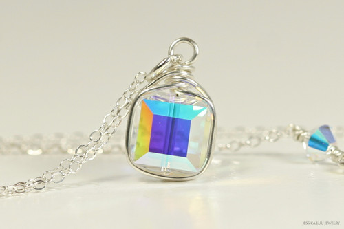 Sterling silver wire wrapped iridescent clear aurora borealis Swarovski crystal cube pendant on chain necklace handmade by Jessica Luu Jewelry