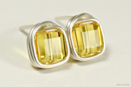 Sterling silver wire wrapped light topaz yellow Swarovski crystal cube stud earrings handmade by Jessica Luu Jewelry