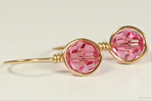 14K yellow gold filled wire wrapped rose pink Swarovski crystal drop earrings handmade by Jessica Luu Jewelry