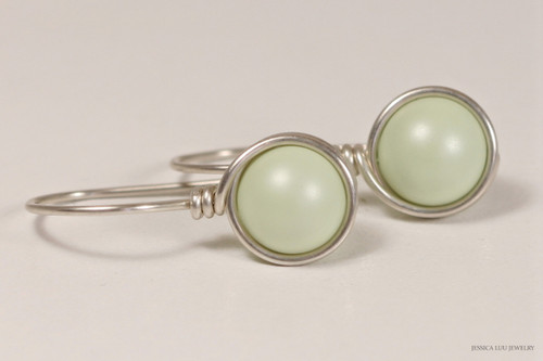 Sterling silver wire wrapped light pastel green Swarovski pearl drop earrings handmade by Jessica Luu Jewelry