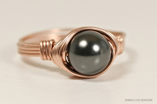 14k rose gold filled wire wrapped ring with black Swarovski pearl solitaire handmade by Jessica Luu Jewelry