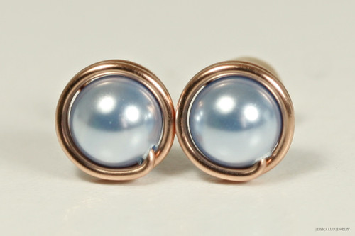14K rose gold filled wire wrapped light blue Swarovski pearl stud earrings handmade by Jessica Luu Jewelry