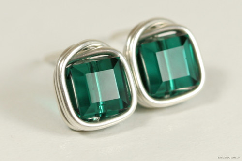 Sterling silver wire wrapped emerald green Swarovski crystal cube stud earrings handmade by Jessica Luu Jewelry