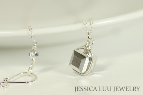 Sterling Silver Metallic Swarovski Crystal Necklace - Available with Matching Earrings and Other Metal Options