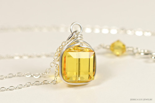 Sterling silver wire wrapped light topaz yellow Swarovski crystal cube pendant on chain necklace handmade by Jessica Luu Jewelry