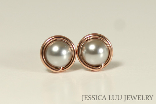 14K rose gold filled wire wrapped light grey silver Swarovski pearl stud earrings handmade by Jessica Luu Jewelry
