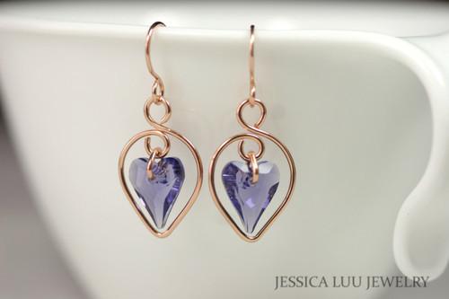 14K rose gold filled blue purple tanzanite crystal heart dangle earrings handmade by Jessica Luu Jewelry