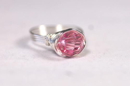 Sterling Silver Light Pink Swarovski Crystal Ring - Other Metal Options Available