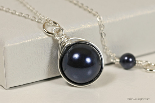 Sterling silver wire wrapped dark navy night blue Swarovski pearl solitaire pendant on chain necklace handmade by Jessica Luu Jewelry