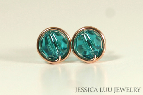 14K rose gold filled wire wrapped teal blue zircon Swarovski crystal round stud earrings handmade by Jessica Luu Jewelry