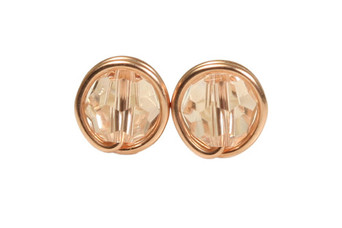 14K rose gold filled wire wrapped silk  crystal stud earrings handmade by Jessica Luu Jewelry