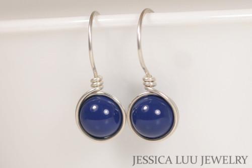 Sterling silver wire wrapped dark lapis blue Swarovski pearl drop earrings handmade by Jessica Luu Jewelry