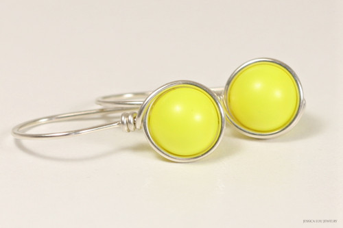 Sterling silver wire wrapped bright neon yellow Swarovski pearl drop earrings handmade by Jessica Luu Jewelry
