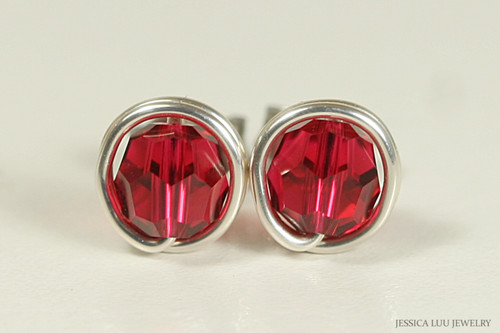 Sterling silver wire wrapped ruby red scarlet Swarovski crystal stud earrings handmade by Jessica Luu Jewelry