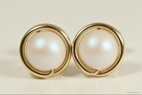 14K yellow gold filled wire wrapped pearlescent white Swarovski pearl stud earrings handmade by Jessica Luu Jewelry