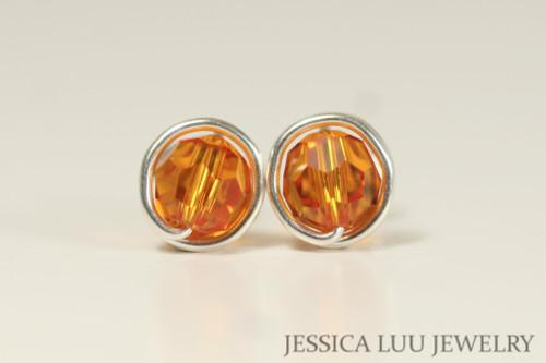 Sterling silver wire wrapped orange tangerine Swarovski crystal round stud earrings handmade by Jessica Luu Jewelry
