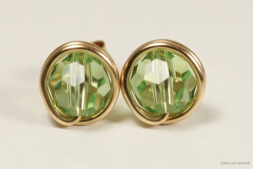 14K yellow gold filled wire wrapped light green peridot Swarovski crystal round stud earrings handmade by Jessica Luu Jewelry