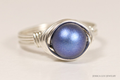 Sterling silver wire wrapped iridescent dark blue Swarovski pearl solitiare ring handmade by Jessica Luu Jewelry