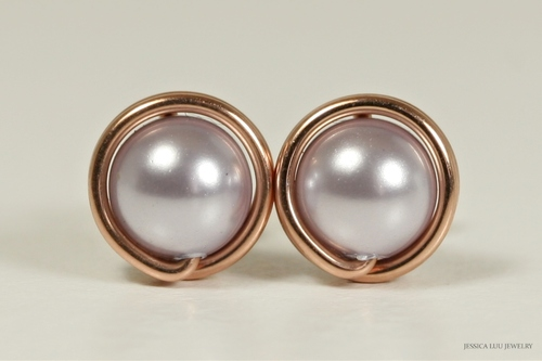 14K rose gold filled wire wrapped lavender Swarovski pearl stud earrings handmade by Jessica Luu Jewelry