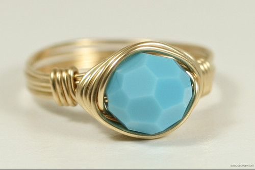 14K yellow gold filled wire wrapped turquoise blue Swarovski crystal solitaire ring handmade by Jessica Luu Jewelry